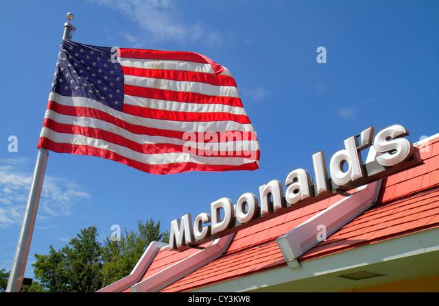 Maine Biddeford McDonald's fast food restaurant flag - Stock Image