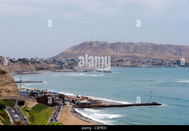 Lima city coastline Peru - Stock Image