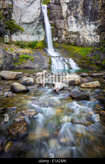 El Chorillo del Salto waterfall near El Chalten in the Argentinian part of Patagonia - Stock Image