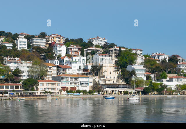View of Burgazada island from the sea with summer houses and a small mosque. the island is the third largest one - Stock Image