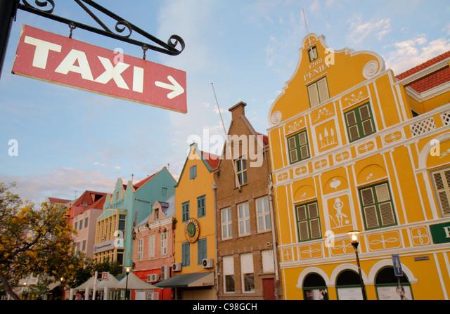 Curaçao Netherlands Antilles Dutch Willemstad Punda Handelskade waterfront UNESCO World Heritage Site colonial - Stock Image