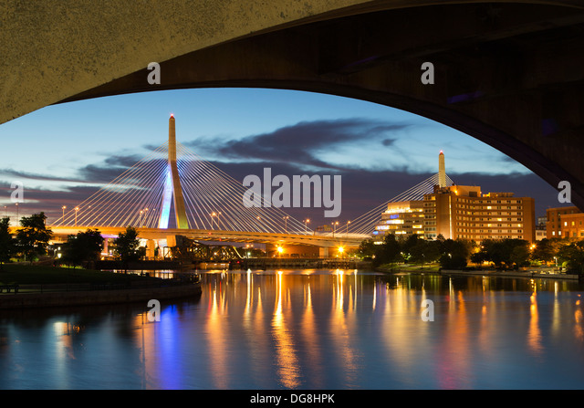 Leonard P. Zakim Bunker Hill Memorial Bridge (Zakim Bridge) and Charles River, Boston, Massachusetts USA - Stock Image
