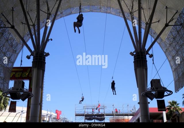 Nevada Las Vegas Downtown Fremont Street Experience FlightLinez zip line ride thrill - Stock Image