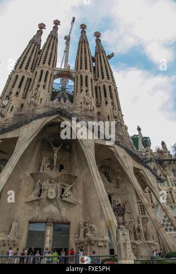Towers of the Sagrada Familia temple, Gaudi, Barcelona, Catalonia, Spain - Stock-Bilder
