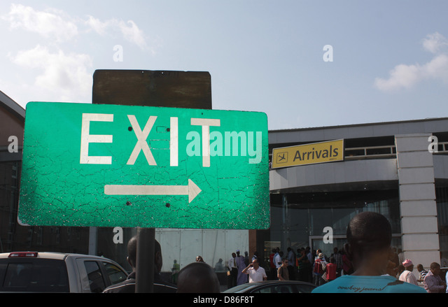 Directional Exit signage at the arrival hall of Murtala Muhammed Domestic Terminal 1, Ikeja, Lagos. - Stock Image