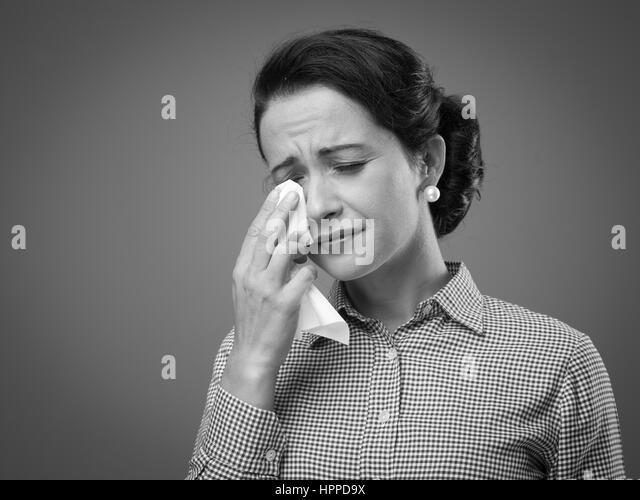 Depressed Woman Crying Retro Crying Stock Pho...
