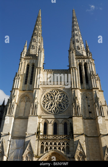 Bordeaux France Cathedral St Andre on Place Pey Berland - Stock Image