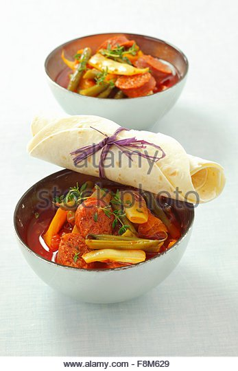 Chorizo and bean stew - Stock Image