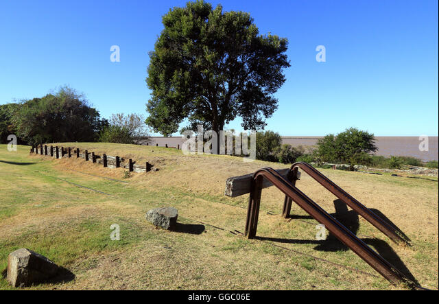 The end of the defunct railway at Colonia in Uruguay. - Stock Image