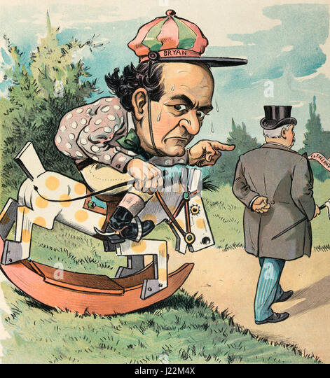 Bryan's hobby -  Illustration shows William Jennings Bryan as a horse racing jockey sitting on a rocking horse - Stock Image