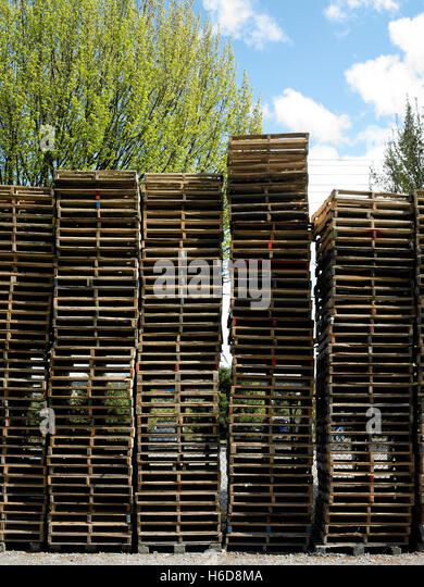 Vertical image hundreds of pallets stacked in an outside lot. - Stock Image