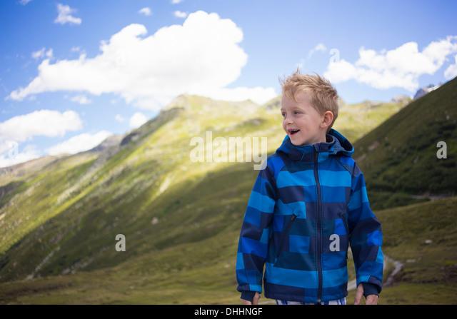 Portrait of boy, Tyrol, Austria - Stock Image