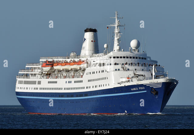 1965 built cruiseship Marco Polo heading for the Kiel Canal - Stock Image