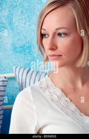 Blonde woman, portrait - Stock Image