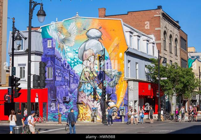 Canada, Province of Quebec, Montreal Granny by A'Shop for the Mural Festival 2013 This old lady was totally - Stock Image