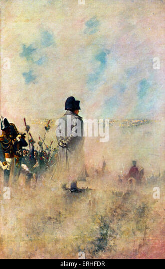 Napoleon Bonaparte at war - standing on battlefield in Moscow, Russia.  Back view, wearing emblematic tricorne hat. - Stock-Bilder