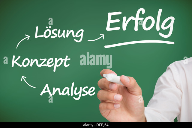 Businessman writing words about planning with a marker in german - Stock-Bilder
