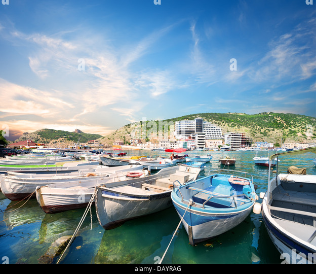 View of the bay of Balaklava in Crimea - Stock Image