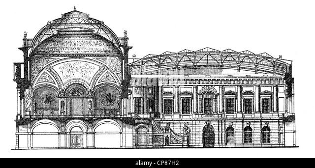Historische, zeichnerische Darstellung Berliner Bauwerke, Zeughaus, heute das Deutsche Historische Museum, 19. Jahrhundert, - Stock-Bilder