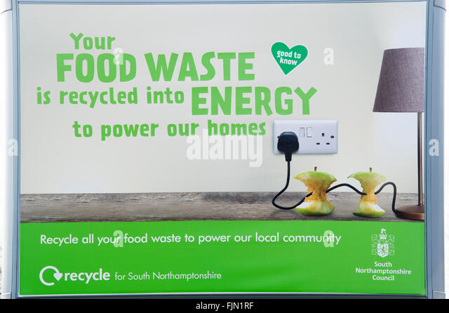 Council Food Waste sign in Brackley, Northamptonshire, England - Stock Image