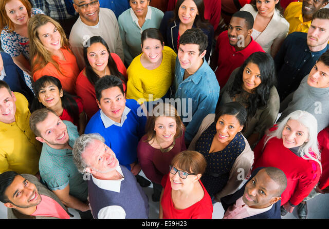 Portrait of diverse crowd - Stock Image