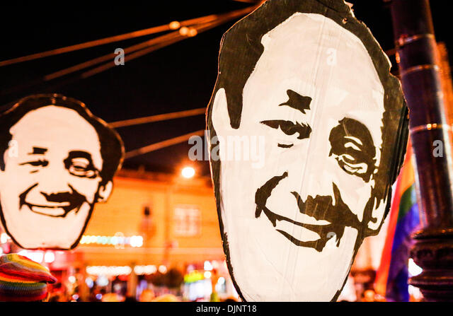 San Francisco, California, USA. 27th Nov, 2013. Placards bearing the face of Milk during a candlelight vigil that - Stock Image