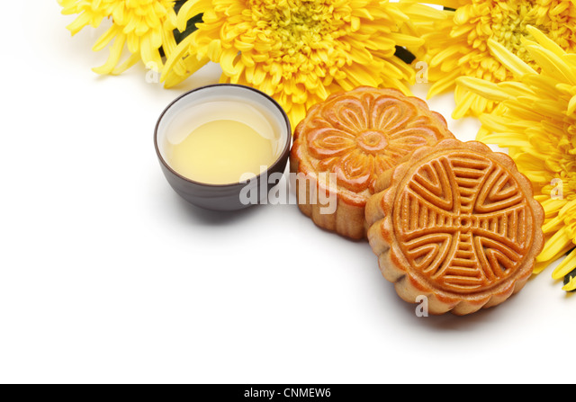 Mooncake and tea,food and drink for Chinese mid autumn festival. - Stock-Bilder