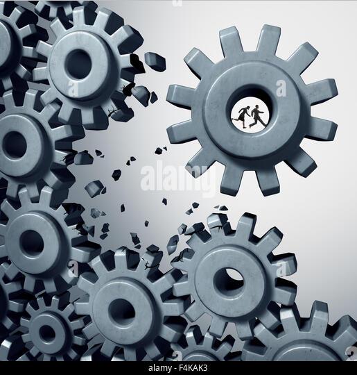 Teamwork breaking out business concept as a businessman and businesswoman team inside a cog or gear detaching themselves - Stock-Bilder