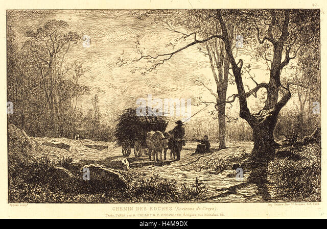 Adolphe Appian, French (1818-1898), Chemin des Roches, etching - Stock-Bilder