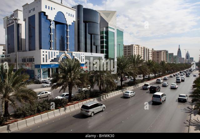 Traffic modern busy street Riyadh Saudi Arabia - Stock Image