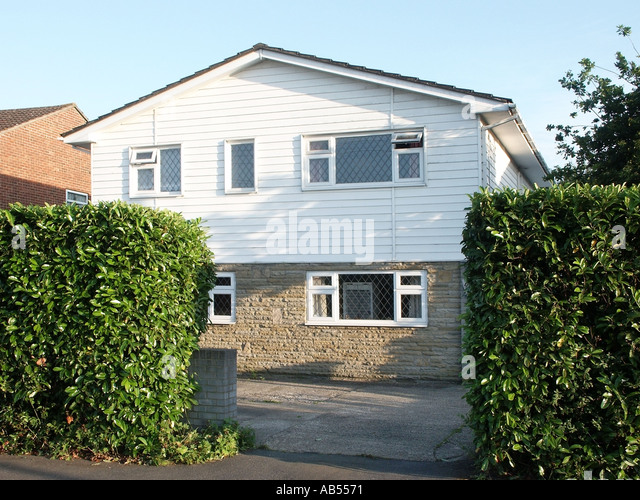 Upvc Front Elevation : House low pitch roof stock photos