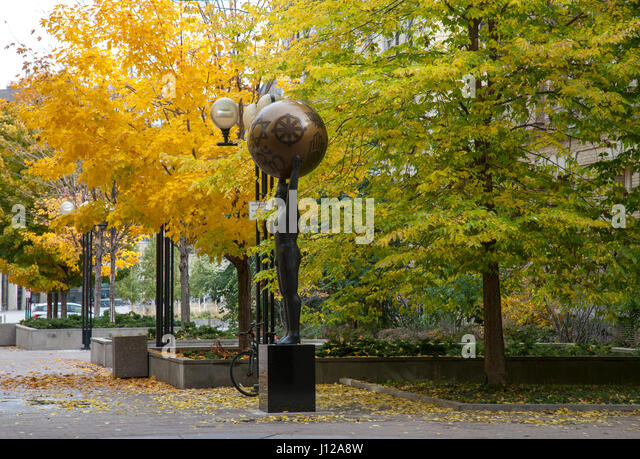 Modern sculpture in Toronto city centre, Canada - Stock Image