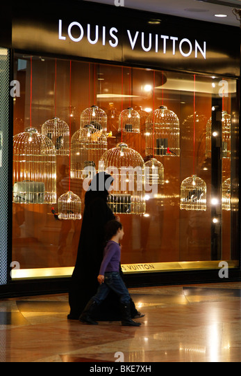 Arabian women at Mall of Emirates , Louis Vuitton shop, shopping mall , Dubai, - Stock Image