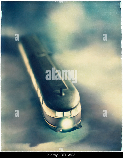 Polaroid transfer of Tram on modeled background - Stock Image