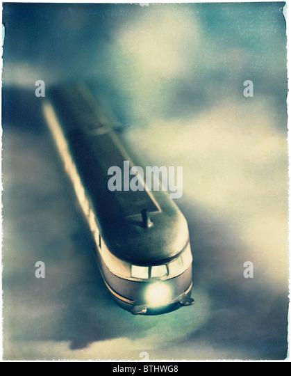 Polaroid transfer of Tram on modeled background - Stock Image