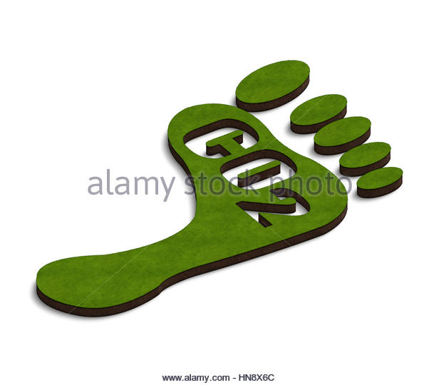 Digital composite - 3d footprint with Co2 - carbon footprint. - Stock Image