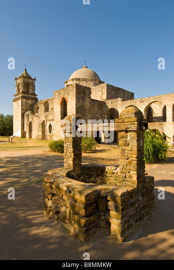 Mission San José San Antonio Texas tx tourist attraction national state landmark spanish colonial architecture - Stock Image