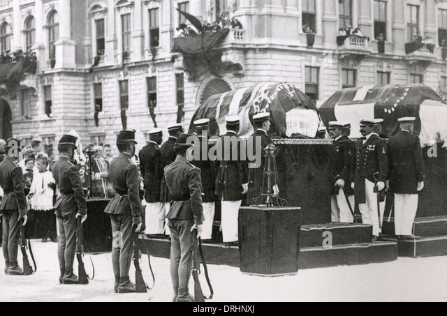 Coffins of Archduke Franz Ferdinand and his wife - Stock Image