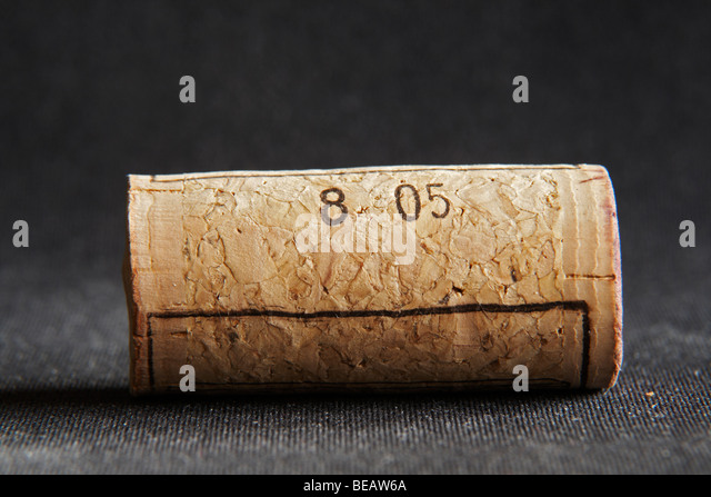 technical cork with disks at the end and glued agglomerate cork in the middle - Stock Image