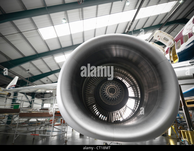 Close up of airplane engine - Stock Image