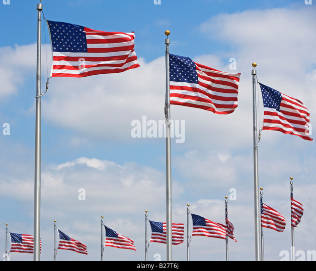 Low angle view of American flags, Washington DC, United States - Stock-Bilder