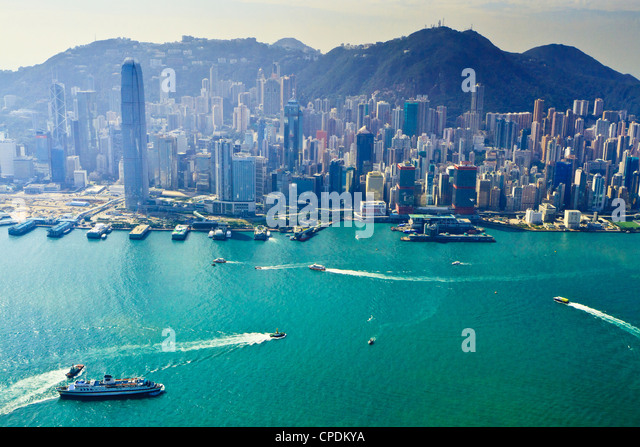 Cityscape of Central, Hong Kong's main financial district, Hong Kong Island, and Victoria Harbour, Hong Kong, - Stock Image