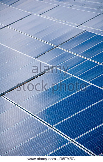 Solar panels cells energy power detail close up - Stock Image