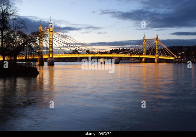 Albert Bridge over the River Thames, Chelsea, London, England, UK - Stock Image