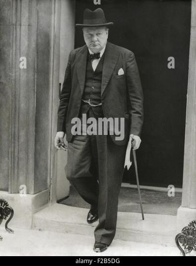 First Lord of the Admiralty, Winston Churchill leaves 10 Downing Street, April 7, 1940. He was leaving to address - Stock Image