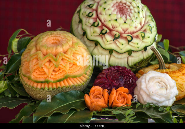 Fruit carving thailand stock photos