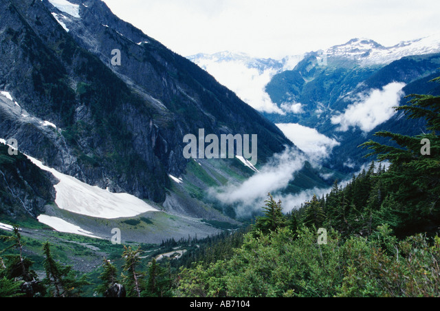 A southwest view from Cascade Pass trail in North Cascades National Park Washington COPYRIGHT DUANE BURLESON - Stock Image