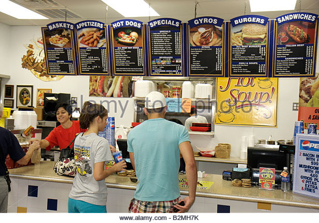 Indiana Chesterton Original George's Gyros Spot restaurant food family business ethnic man woman cashier job - Stock Image