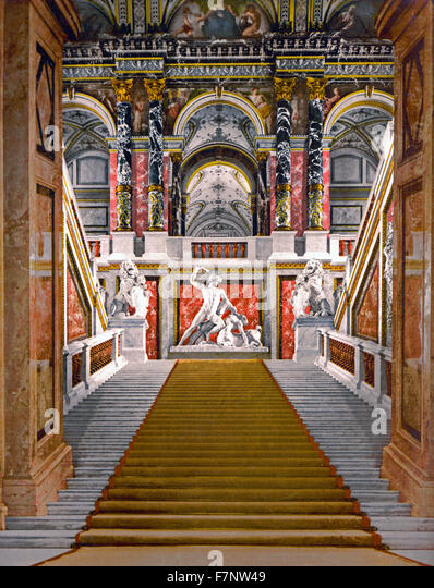 The Museum of Arts, the staircase, Vienna, Austro-Hungary - Stock-Bilder