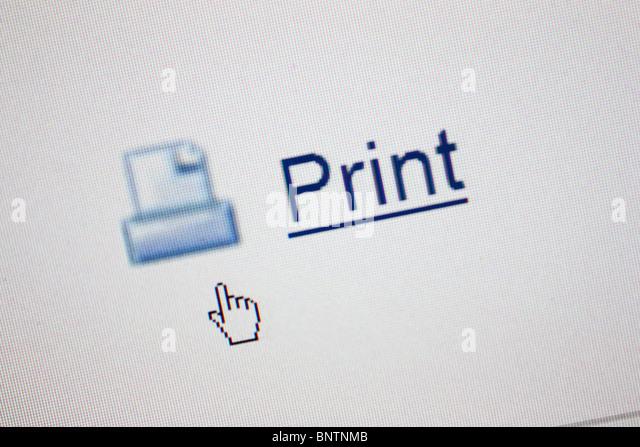 print icon mouse pointer - Stock Image
